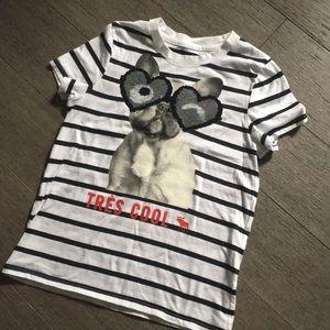Girls Abercrombie sequin shirt t-shirt S 7/8
